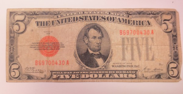 Lincoln depicted on a five US dollar note