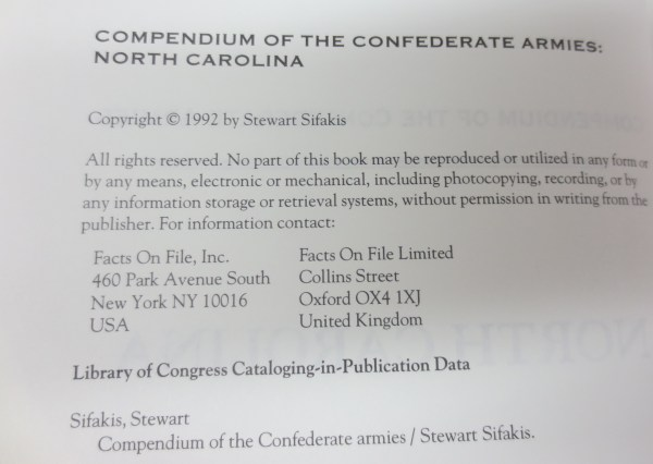 Book page from the Compendium of the Confederate Armies