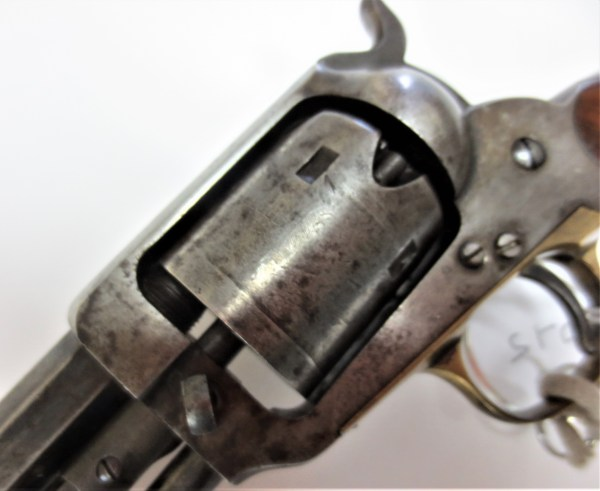 Close up look of the revolver's cylinder
