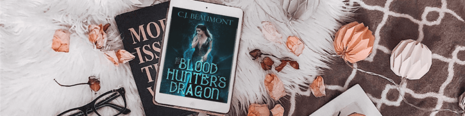 Attractive book layout banner featuring The Blood Hunter's Dragon by C. J. Beaumont.