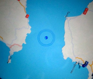 Google Maps position in the Straight of Gibraltar.