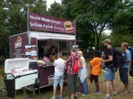 And the burger van - with Polish sausages!
