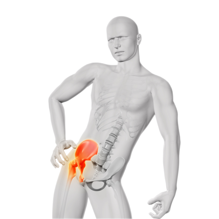 3D render of a male medical figure holding hip in pain