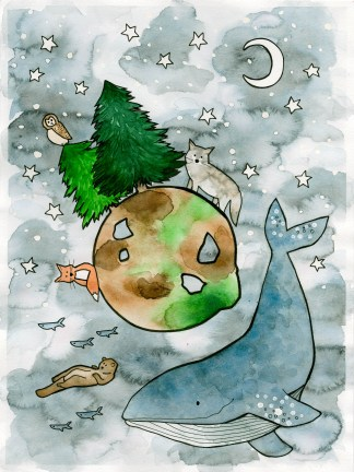Watercolor illustration art children north america whale otter wolf owl fox pine tree moon stars