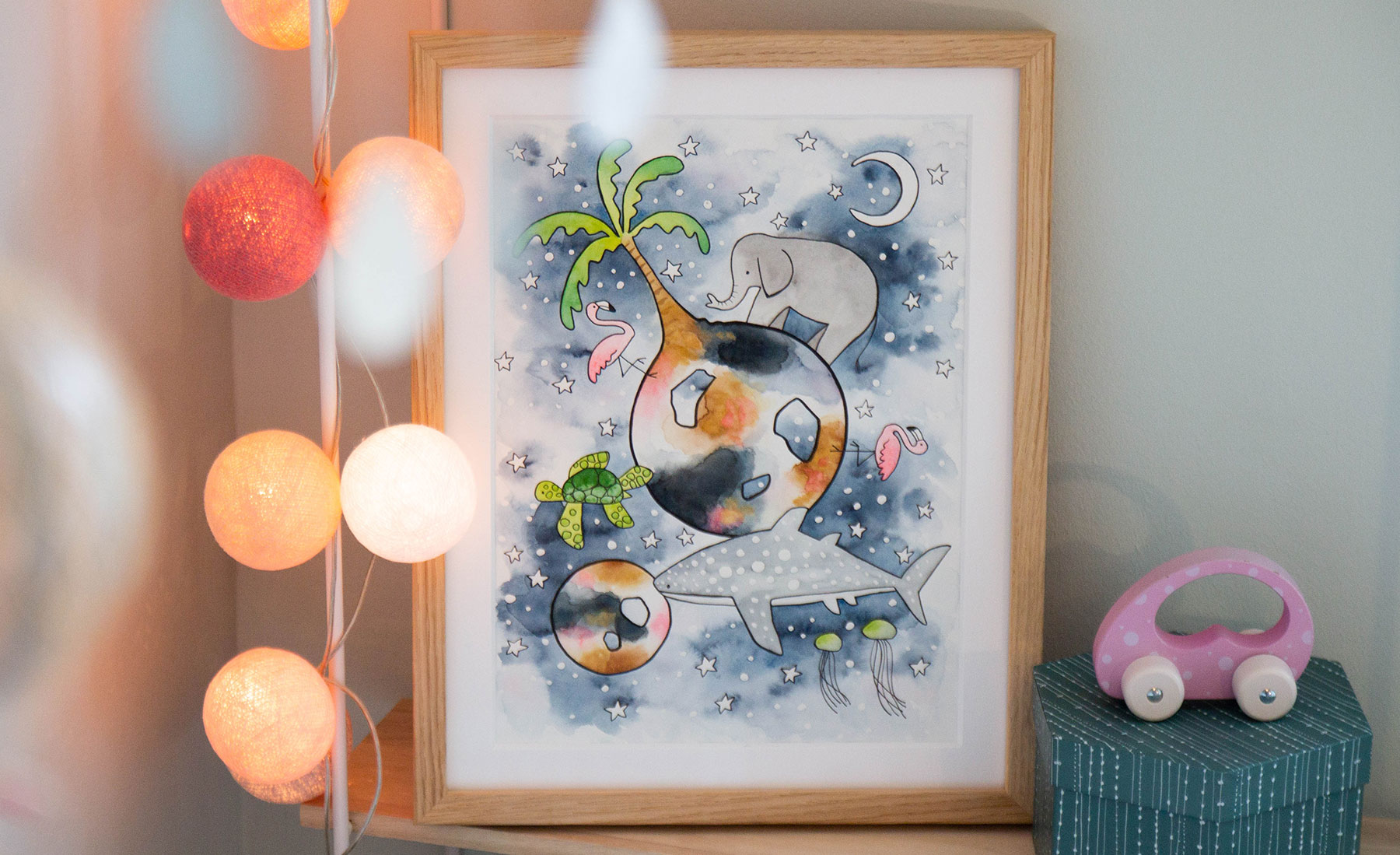 watercolor illustrations childrens art night time elephant flamingo sea turtle whale shark moon stars