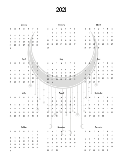 image of year calendar interior page with grey crescent moon in center