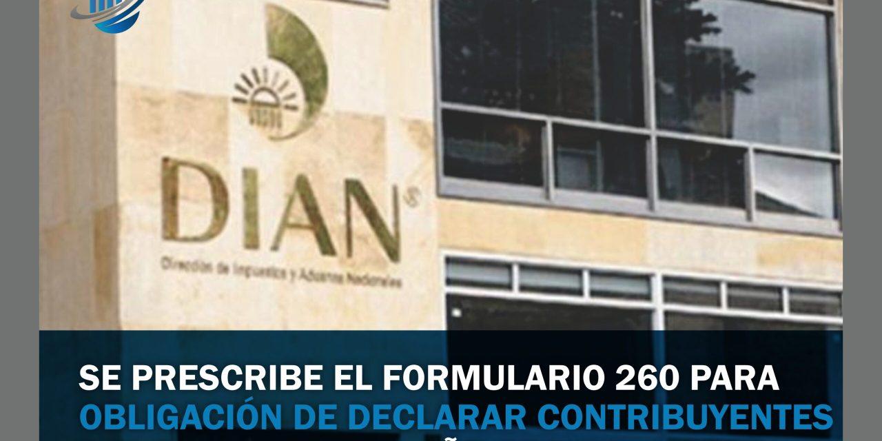 Se prescribe el formulario 260 para  obligación de declarar contribuyentes del SIMPLE por el año gravable 2019