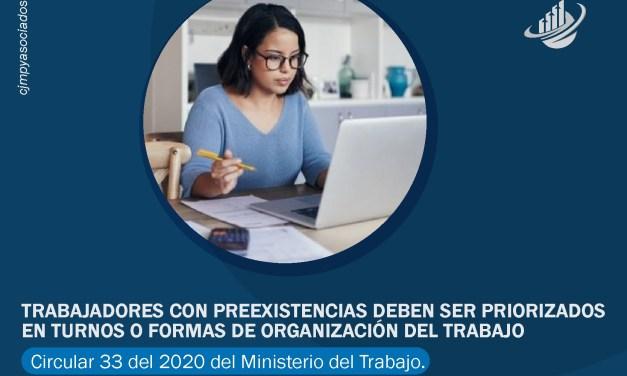 Trabajadores con preexistencias deben ser priorizados en turnos o formas de organización del trabajo