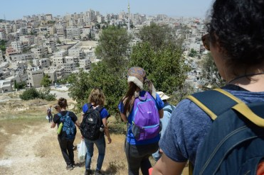 Part of the delegation walking to our work site in Issawiya, East Jerusalem