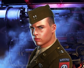 Illustration of a U.S. Army soldier, WWII vintage uniform, with steam locomotive detail behind.