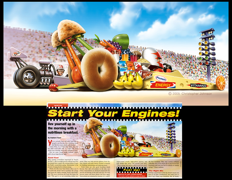 Humorous illustration, drag racer made of food items.