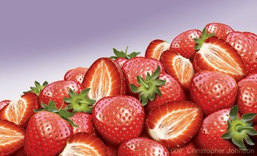 Illustration of a mound of strawberries.
