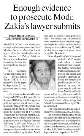 Enough evidence to prosecute Modi-Zakia's lawyer submits