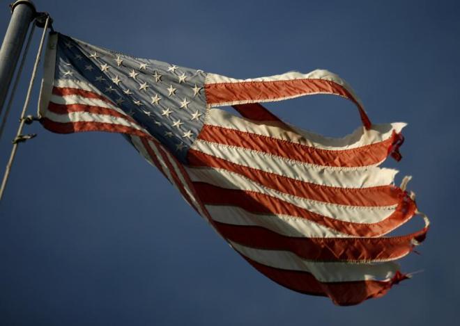 tattered US flag