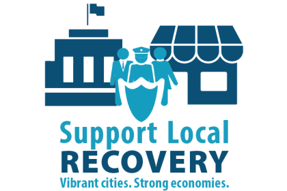 "League of California Cities' ""Support Local Recovery: Vibrant Cities. Strong Economies"" campaign coalition logo"