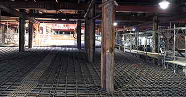 Concrete reinforcing for underground parking
