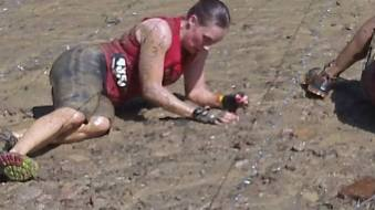 Getting soaked while doing the rocky barbwire crawl.