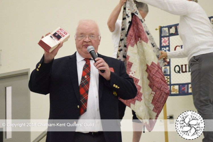 Don Oliphant is speaking about Quilts of Valour - Canada Society