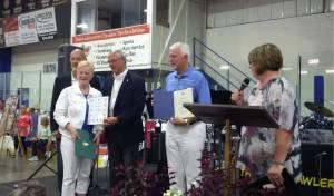 Marion Matt with MP Dave Van Kesteren, MP Bev Shipley, MPP Rick Nicholls and Councillor Karen Herman.