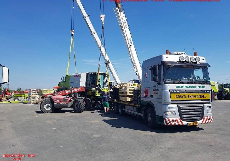 Claas combine's naar Hongarije met Van der Vlist.