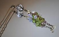水晶・ペリドット・レモンクォーツのお花かんざし♪