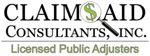 Claims Aid Consultants Public Adjusters logo with magnifying glass