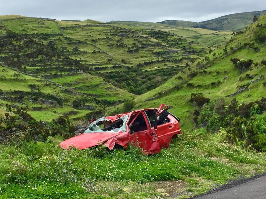 Crashed Red Car after Accident that could possibly be an MIBI case