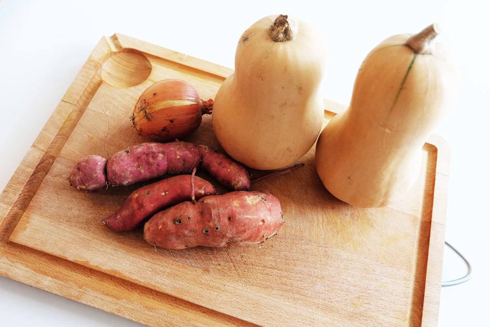 Les ingrédients pour le velouté butternut et patate douce