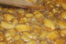 close up of simmering mashed bananas