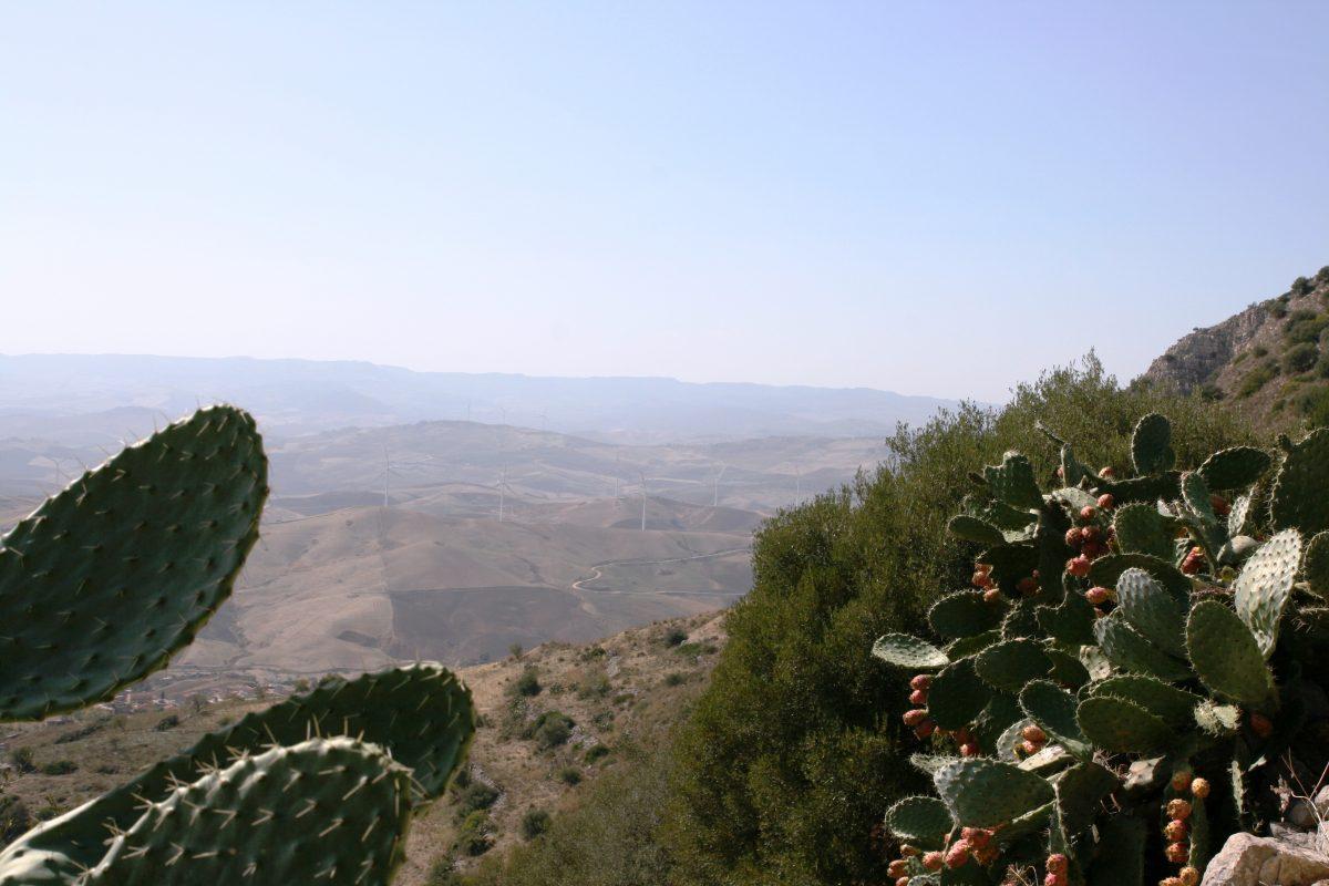 Vista sulla Valle del Dittaino in un parco giochi in Sicilia
