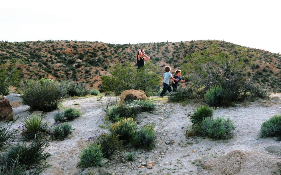 mamma e bambini al joshua tree national park negli stati uniti