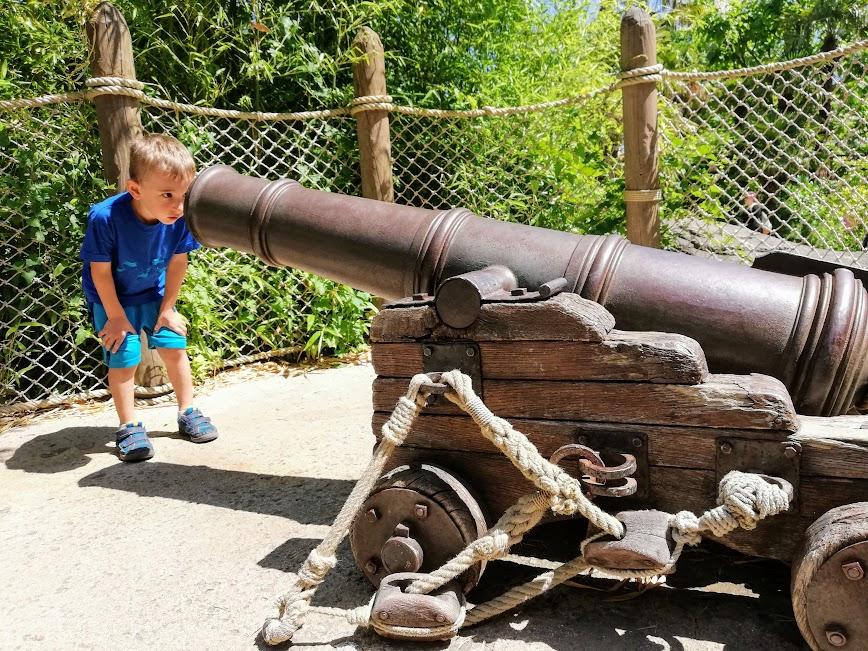 bambino che guarda un cannone a disneyland