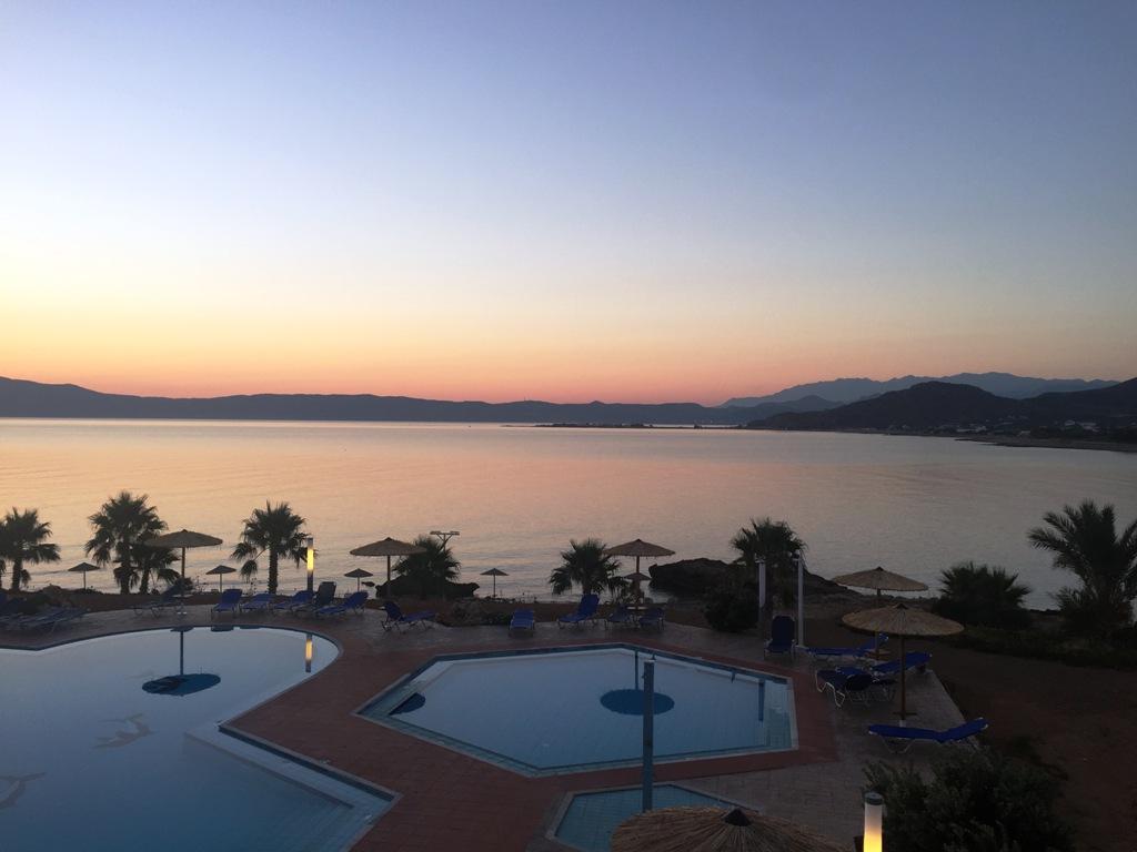 tramonto in hotel a Creta