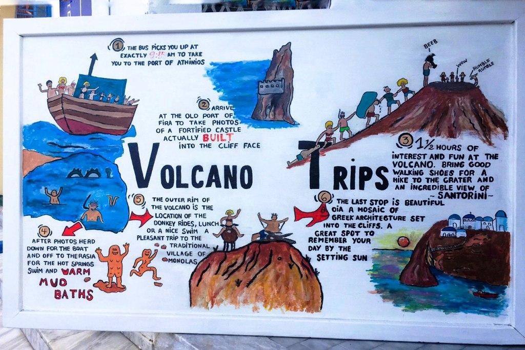 illustrazione del vulcano attivo di Santorini da visitare con i bambini