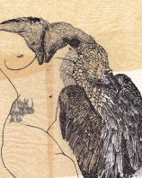 """Claire Marsh, """"taxidermia"""", 2013, indian ink on sewing paper, 27 x 22cm"""