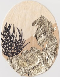 """Claire Marsh, 2016, """"Spine I"""", gold leaf and indian ink on sewing paper, 12.5x10.5 cm"""