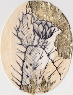 """Claire Marsh, 2016, """"Spine II"""", gold leaf and indian ink on sewing paper, 12.5x10.5 cm"""
