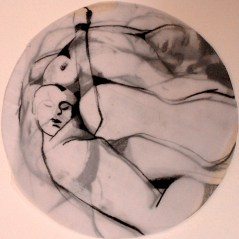 """Claire Marsh, 2010, """"circle composition"""", conte on tracing paper"""