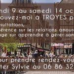 Consultation & conférences à Troyes du 9 au 14 Octobre 2017