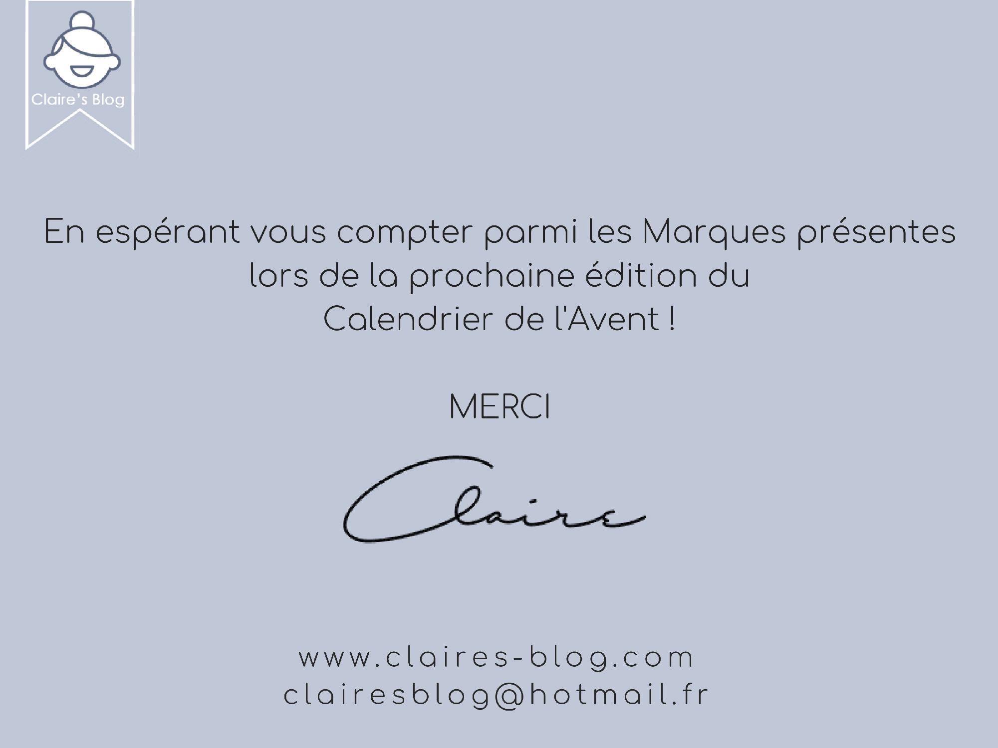 Calendrier de l'Avent Instagram Claire's Blog