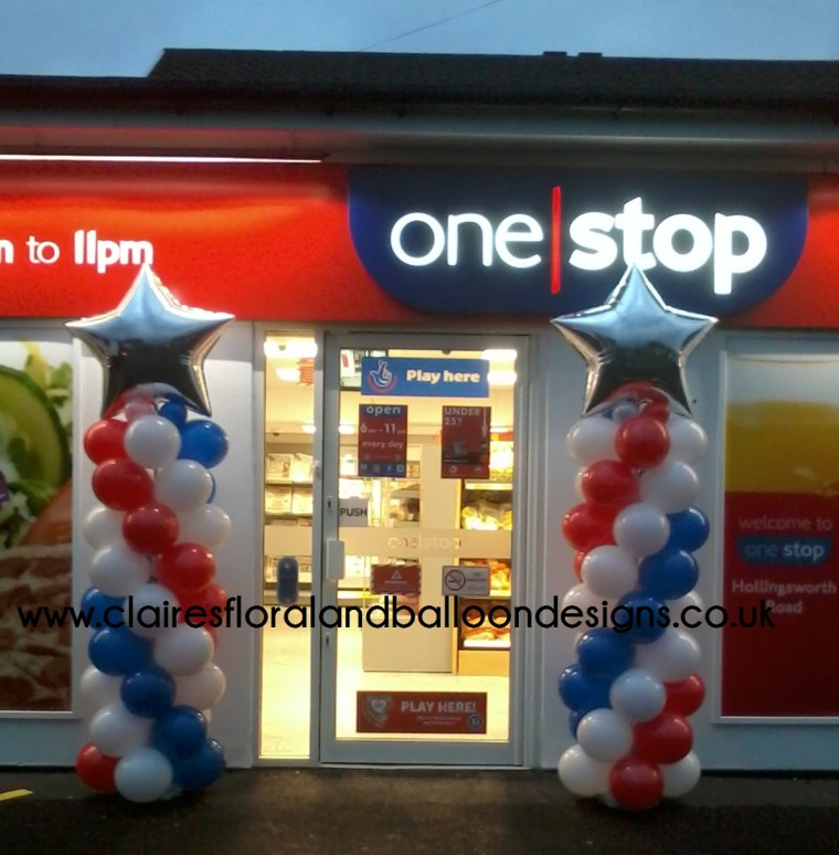Corporate spiral balloon columns with star topper