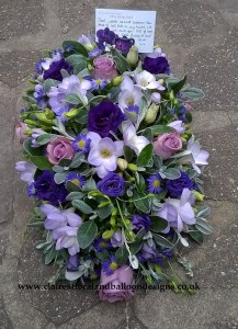 Freesia, rose and lisianthus funeral tribute