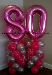 80th birthday jumbo foil number columns