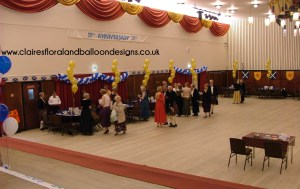 Balloon table centres and wall swags