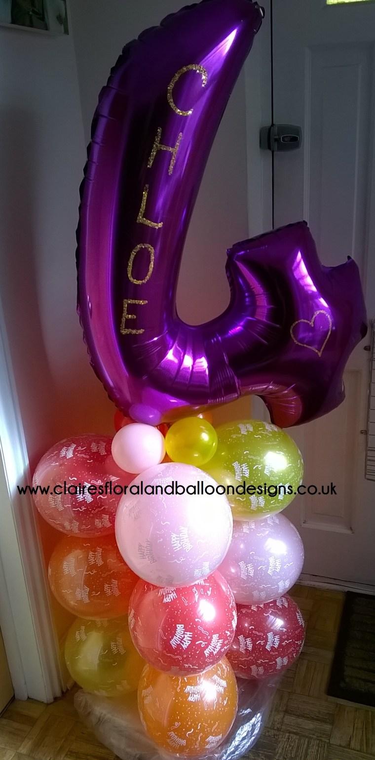 Birthday balloon column with jumbo number topper