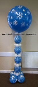 Snowflake balloon column with giant balloon topper