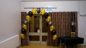 30th birthday doorway balloon arch