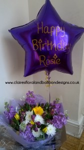 Personalised foil helium balloon and flower bouquet