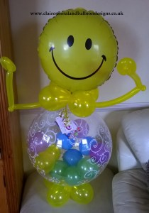 Smiley face balloon character with balloons in tummy