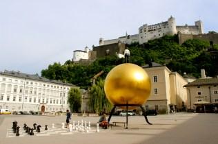Kapitelplatz with modern art installation